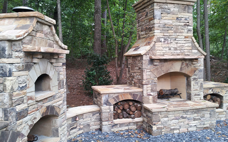 outdoor brick fireplace ndash with grill amp oven