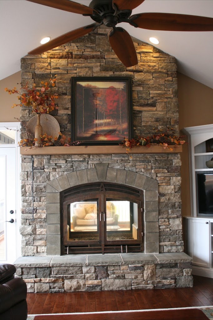 Indoor Stone Fireplaces  Double Sided