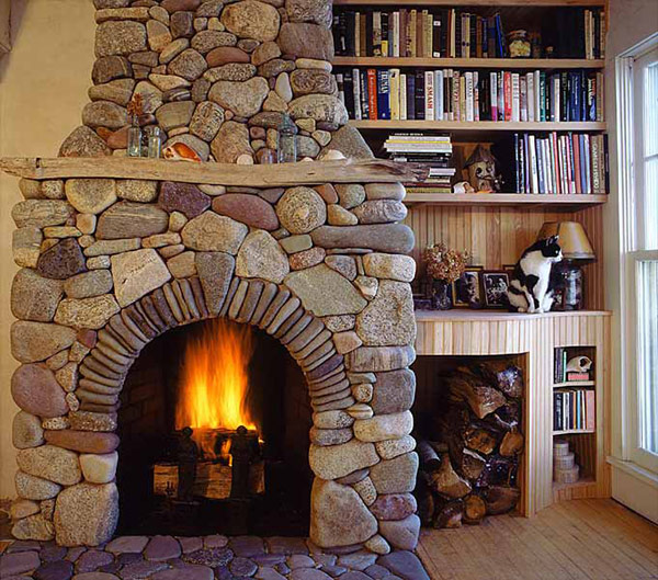 Indoor Stone Fireplace  Windows