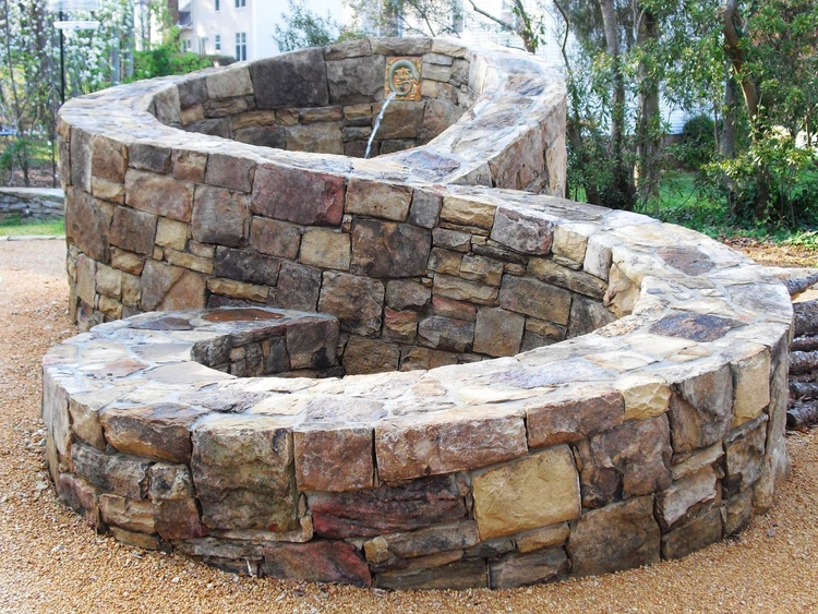 stone masonry - stone outdoor firepit